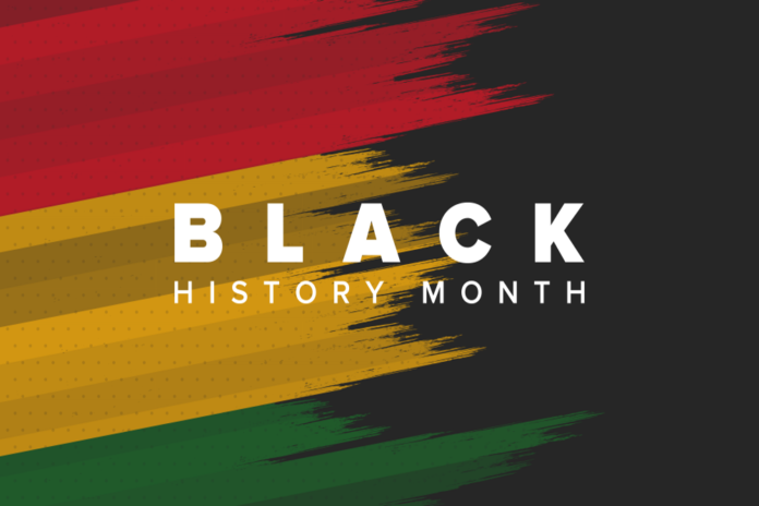 PODCAST Black History Month: Three brustrokes of red, yellow & green on blcak background with white text